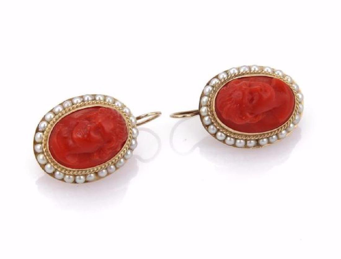 Carved Coral Cameo Seed Pearls14k Gold Earrings