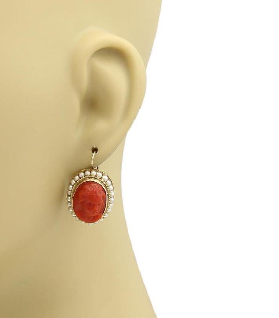Carved Coral Cameo Seed Pearls14k Gold Earrings - 2