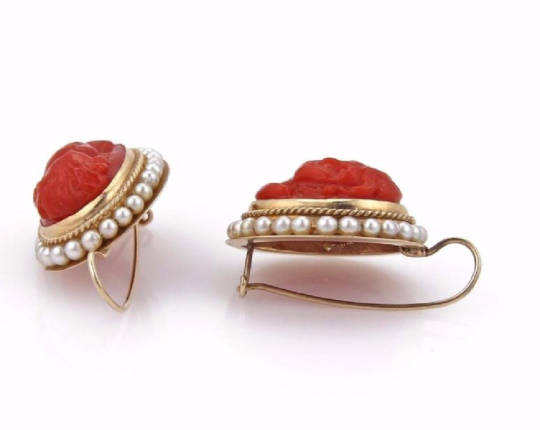 Carved Coral Cameo Seed Pearls14k Gold Earrings - 3
