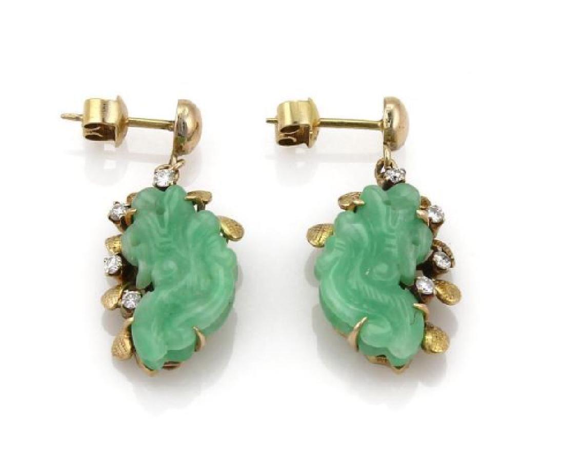 Diamond & Jade 14k Gold Carved Floral Earrings