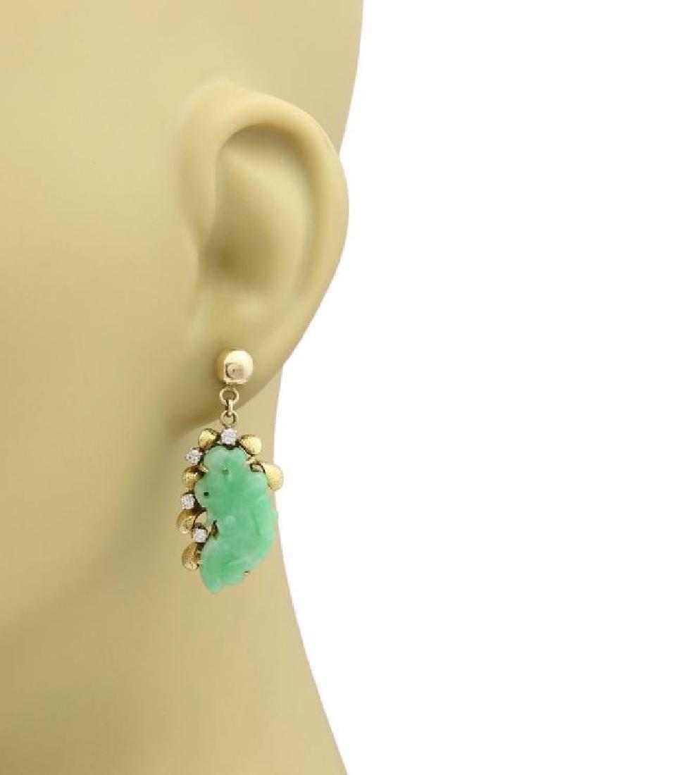 Diamond & Jade 14k Gold Carved Floral Earrings - 2