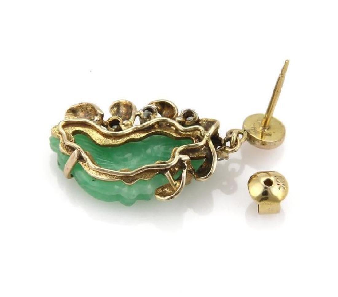 Diamond & Jade 14k Gold Carved Floral Earrings - 4