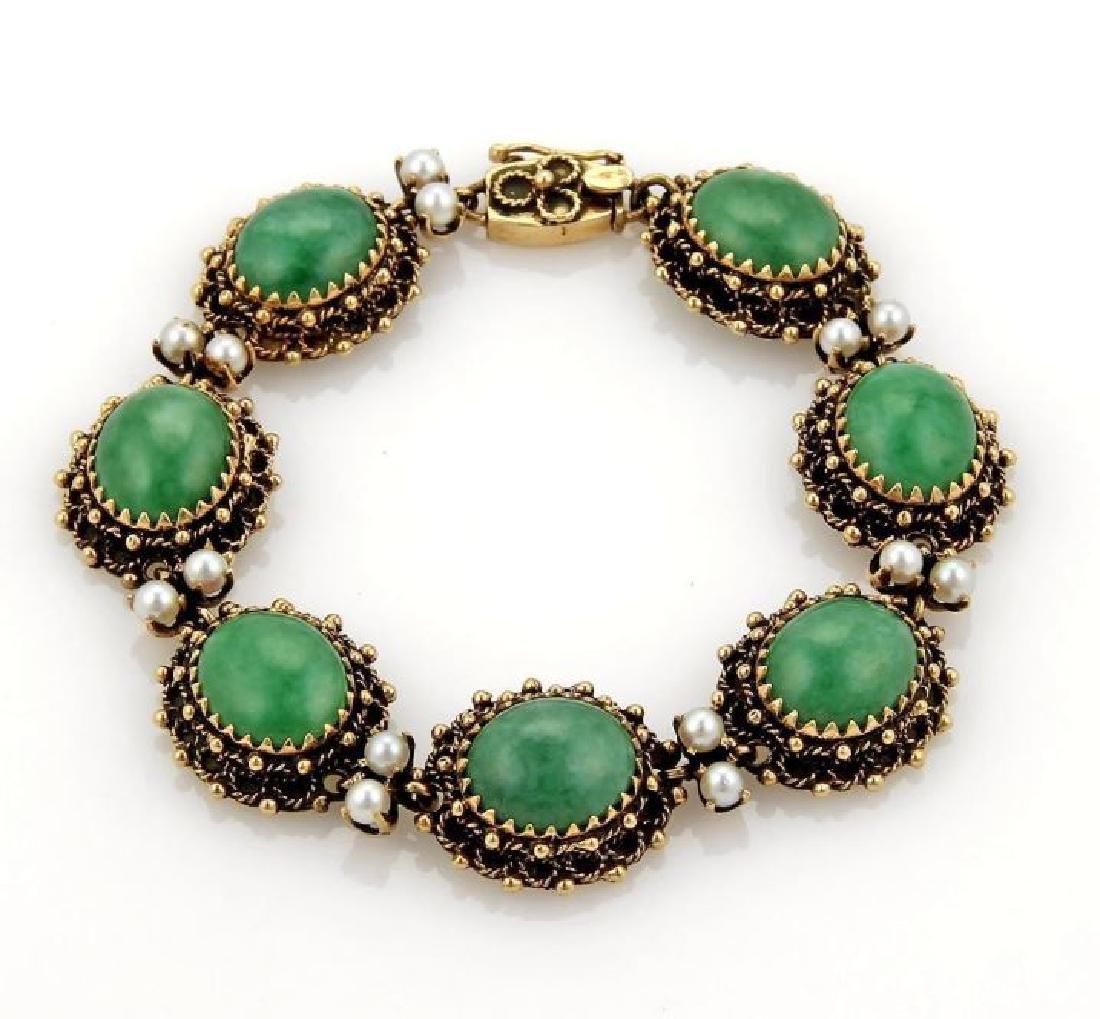 Jade Seed Pearls 14k Gold Oval Link Bracelet