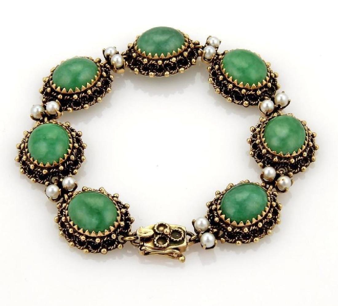 Jade Seed Pearls 14k Gold Oval Link Bracelet - 2