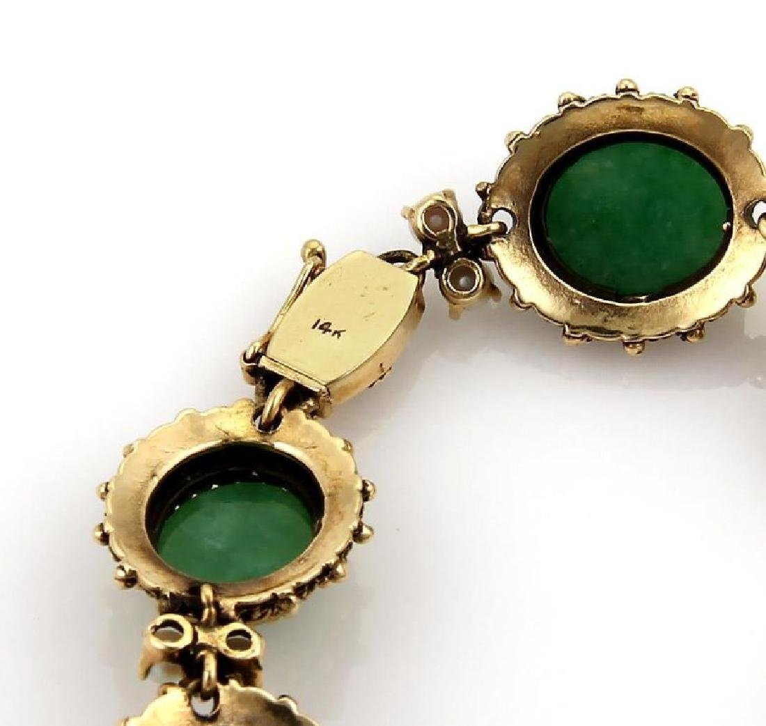 Jade Seed Pearls 14k Gold Oval Link Bracelet - 3