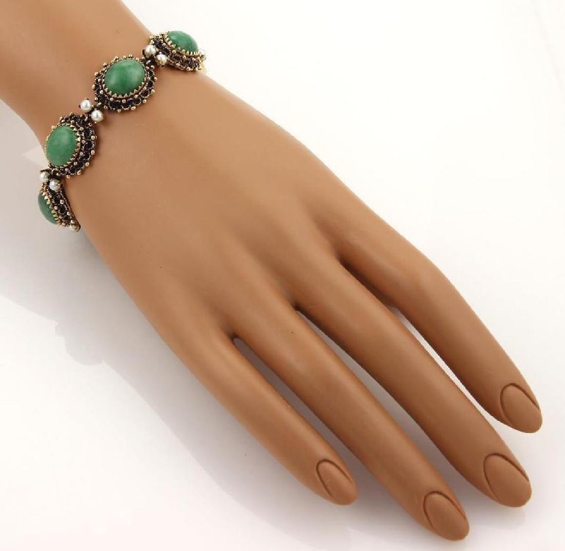 Jade Seed Pearls 14k Gold Oval Link Bracelet - 4