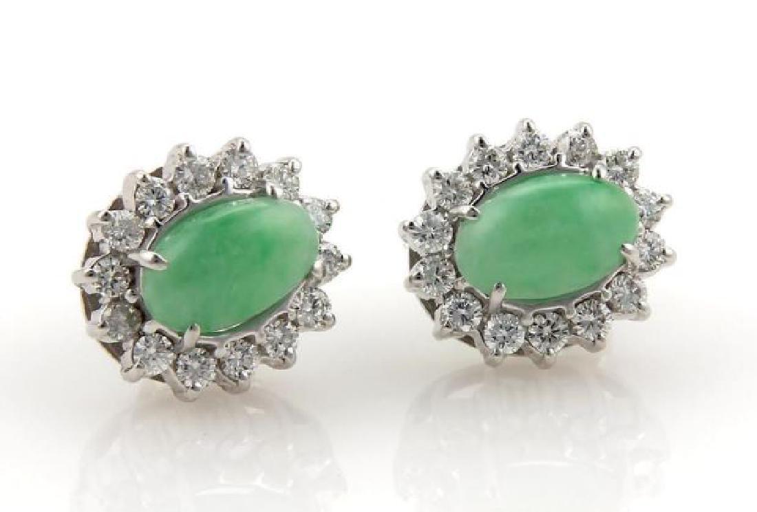 Diamonds Cabochon Jade 14k Gold Oval Stud Earrings