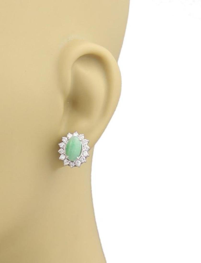 Diamonds Cabochon Jade 14k Gold Oval Stud Earrings - 2