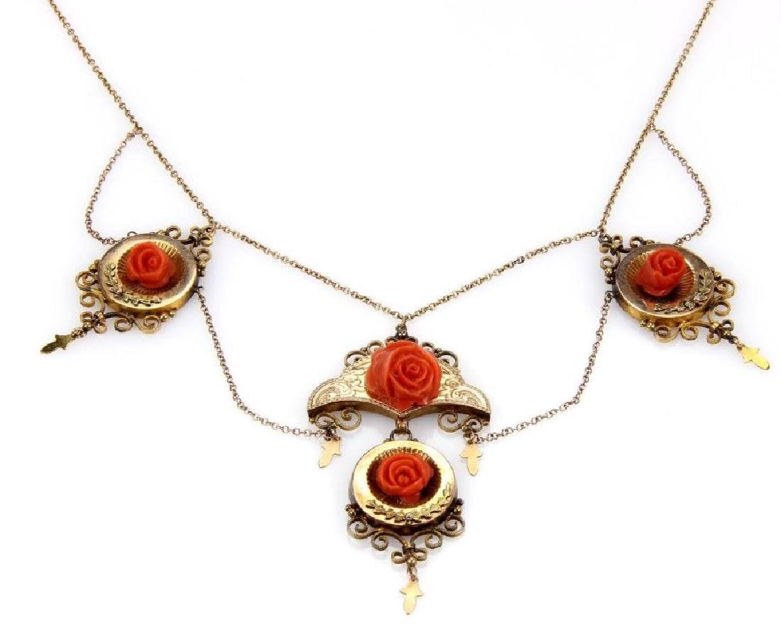 Victorian 14k Gold Coral Roses Charm Necklace