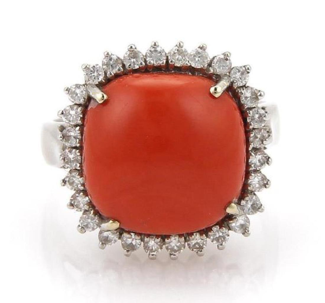 Vintage Diamond Coral 18k White Gold Cocktail Ring