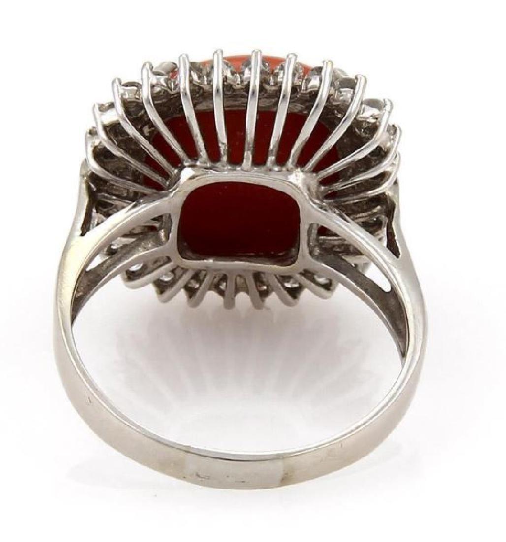 Vintage Diamond Coral 18k White Gold Cocktail Ring - 3
