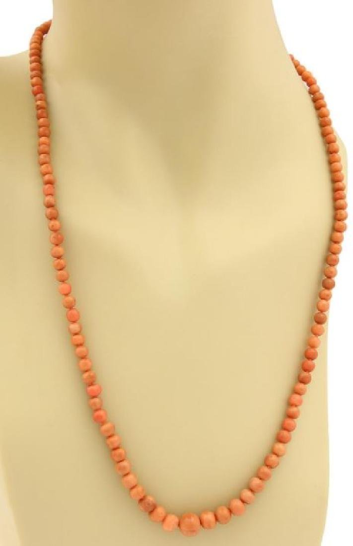 Vintage 14k Gold Graduated Beaded Coral Necklace - 2