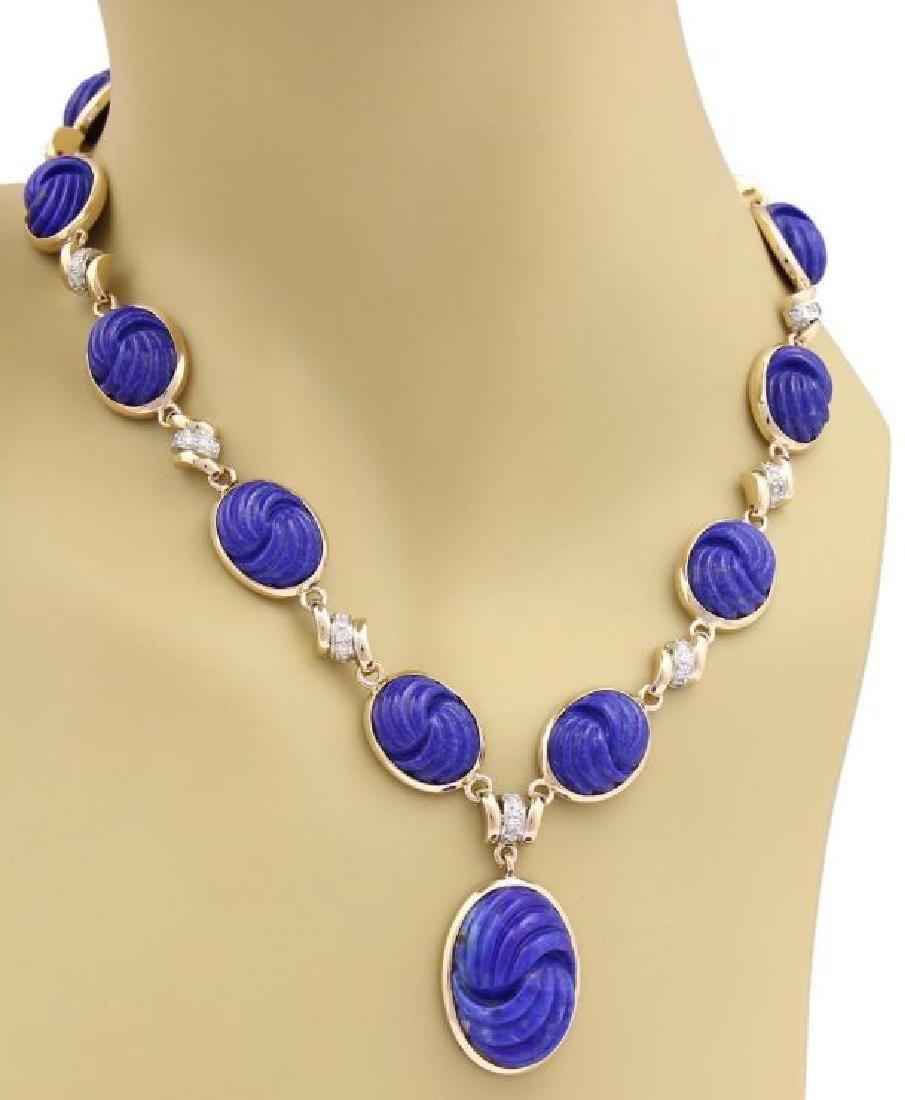 Diamond Carved Lapis 14k Gold Pendant Necklace - 2