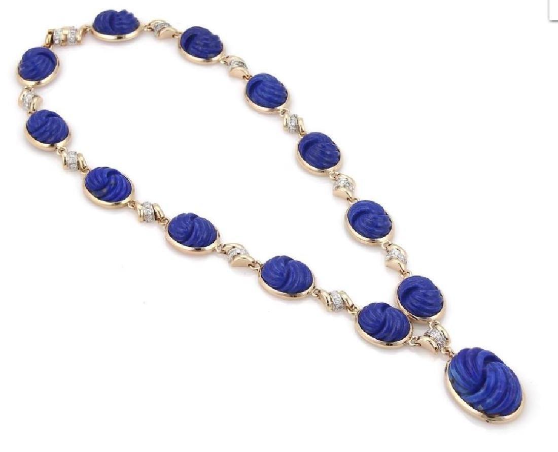 Diamond Carved Lapis 14k Gold Pendant Necklace - 3