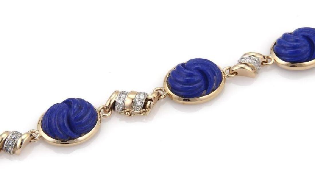 Diamond Carved Lapis 14k Gold Pendant Necklace - 4