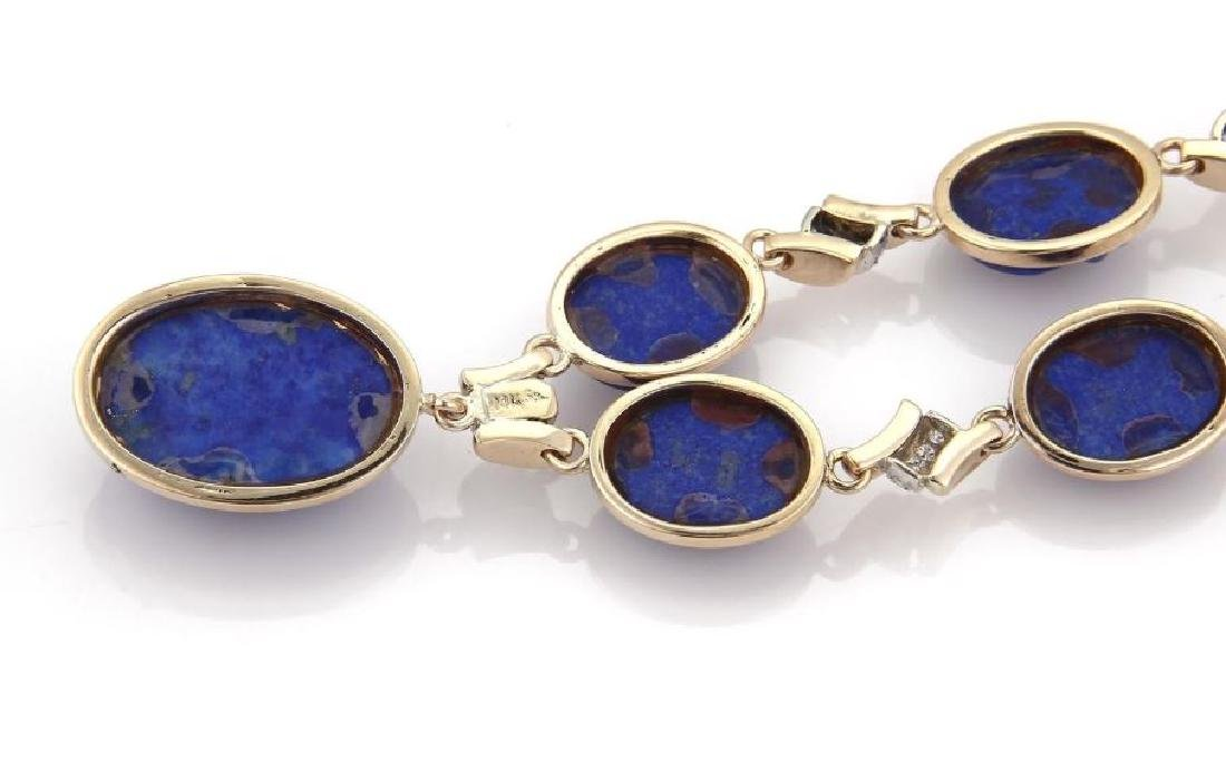 Diamond Carved Lapis 14k Gold Pendant Necklace - 5