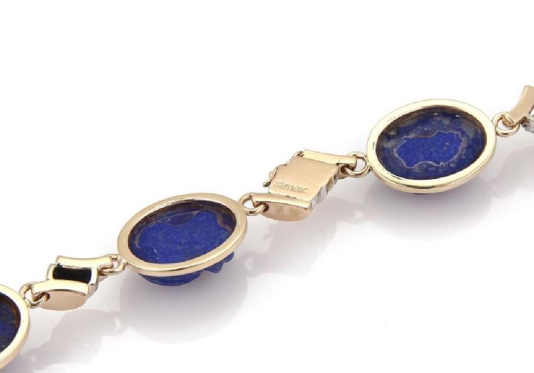 Diamond Carved Lapis 14k Gold Pendant Necklace - 6