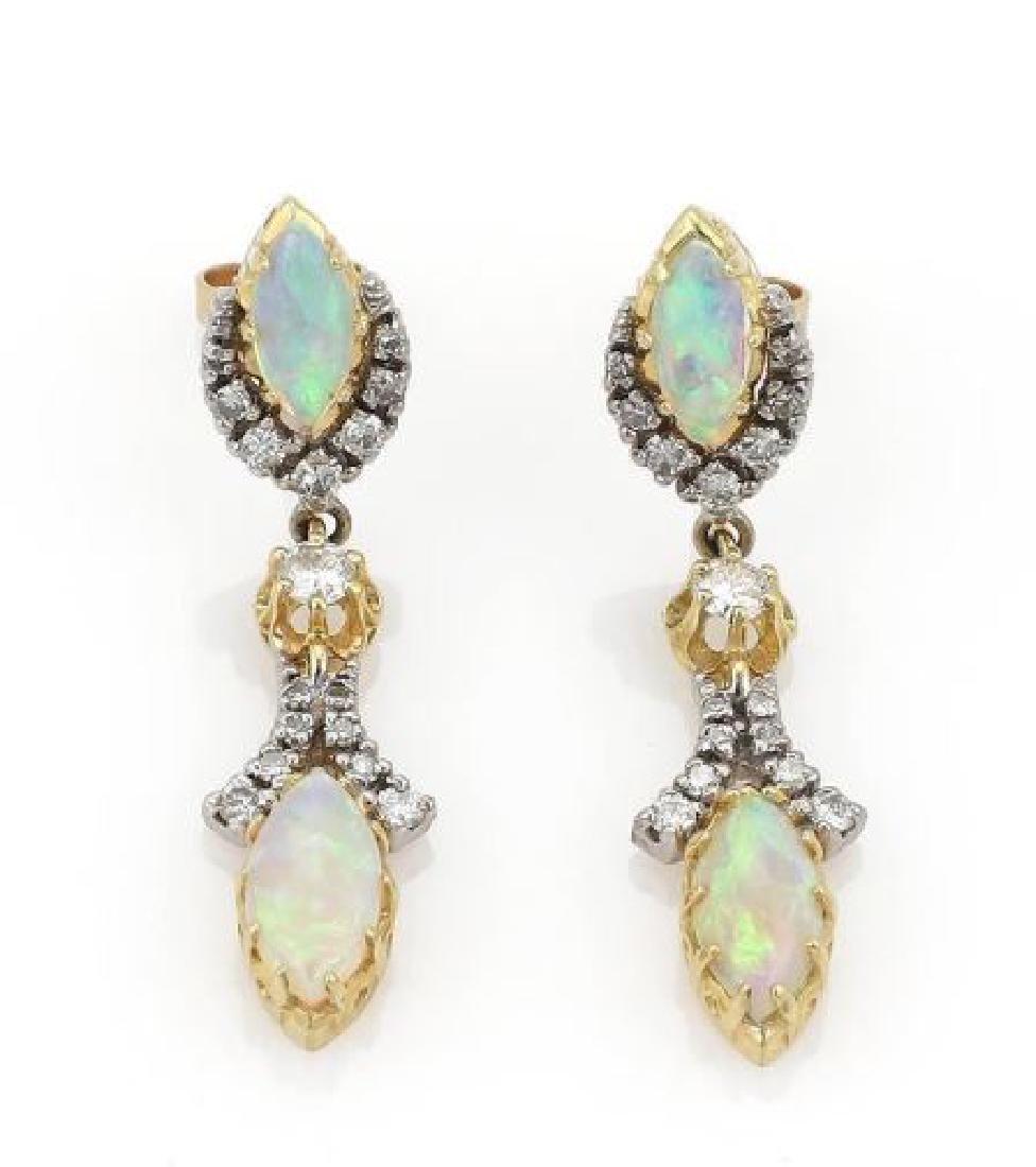 Diamond & Fire Opal 14k Gold Drop Dangle Earrings