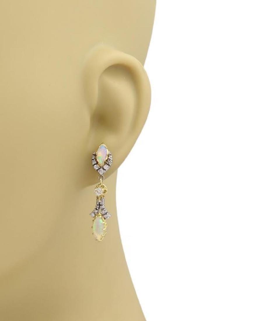 Diamond & Fire Opal 14k Gold Drop Dangle Earrings - 2