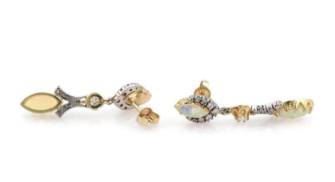 Diamond & Fire Opal 14k Gold Drop Dangle Earrings - 3