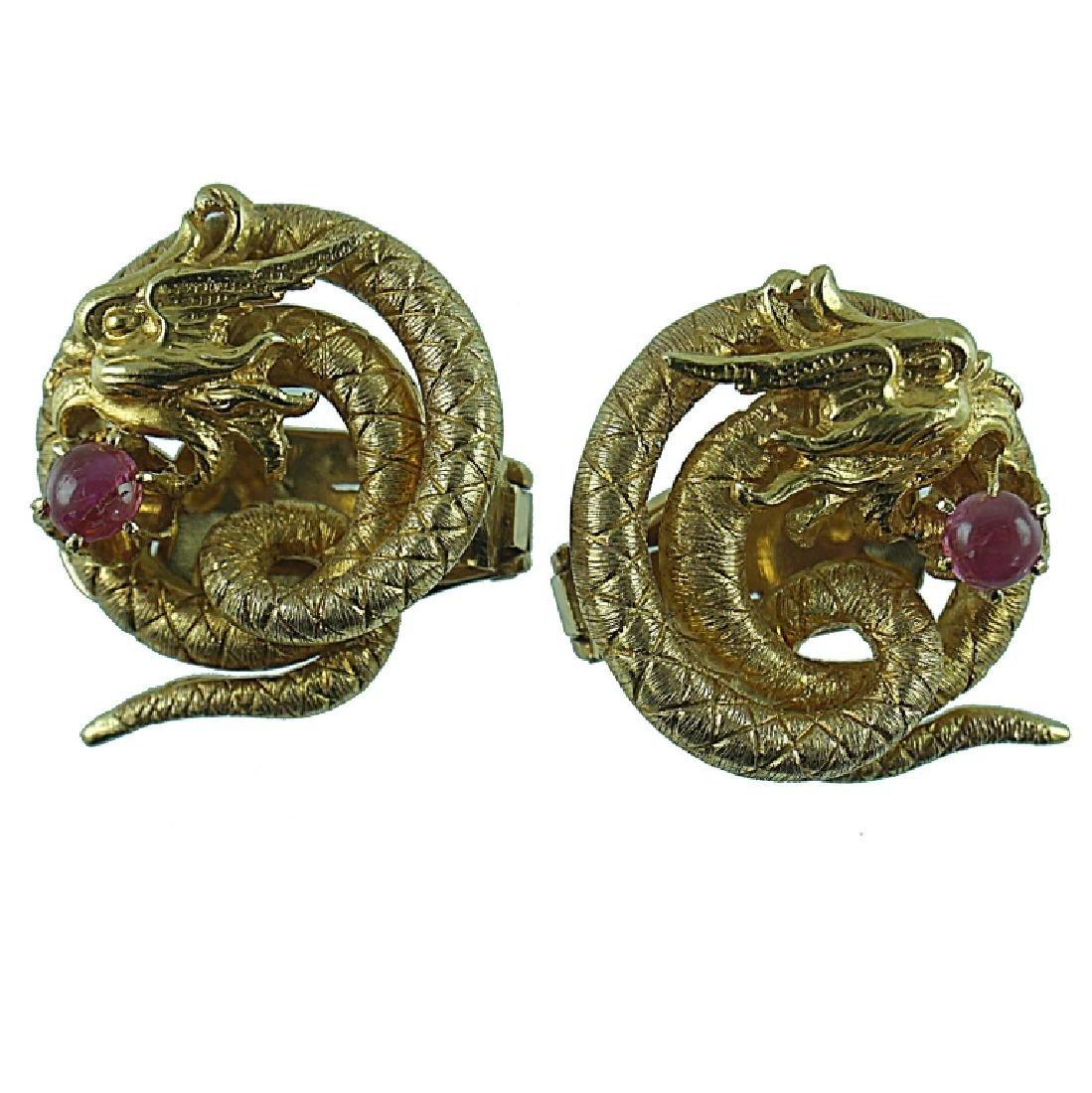 18 Karat Lalaounis Ruby Dragon Earring
