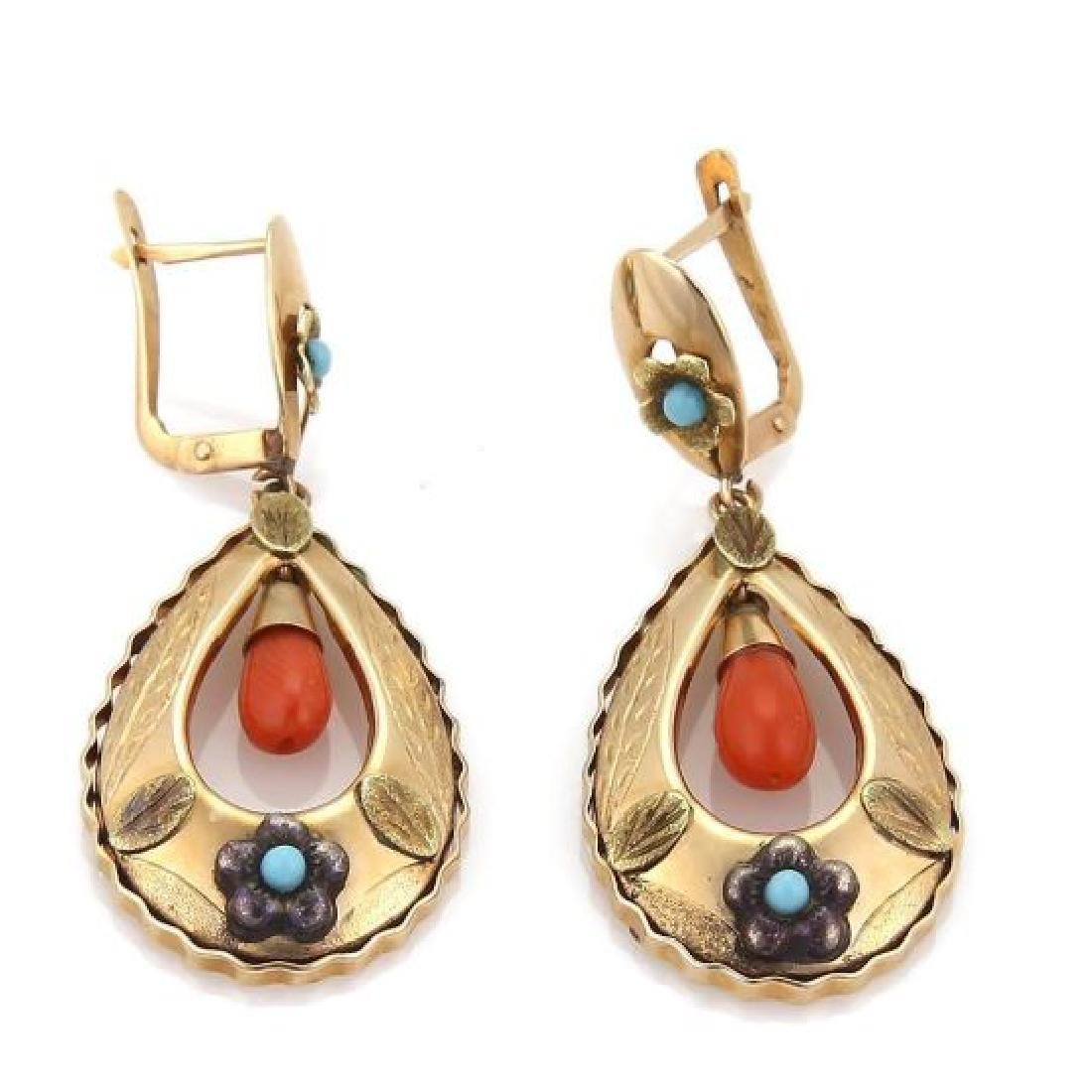 Victorian Coral Turquoise 18k Gold Floral Earrings