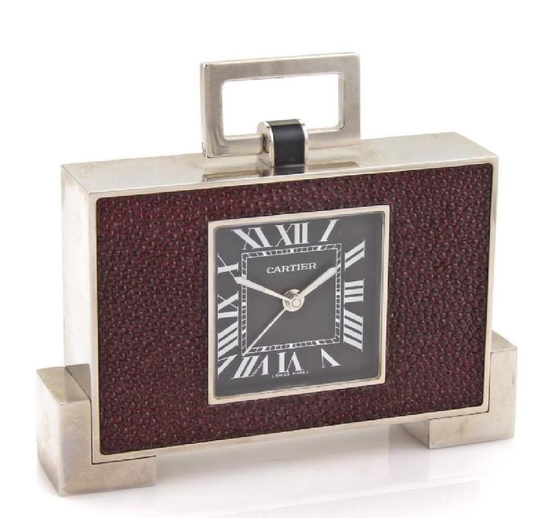 Cartier Pendulette Desk Clock Palladium Finish