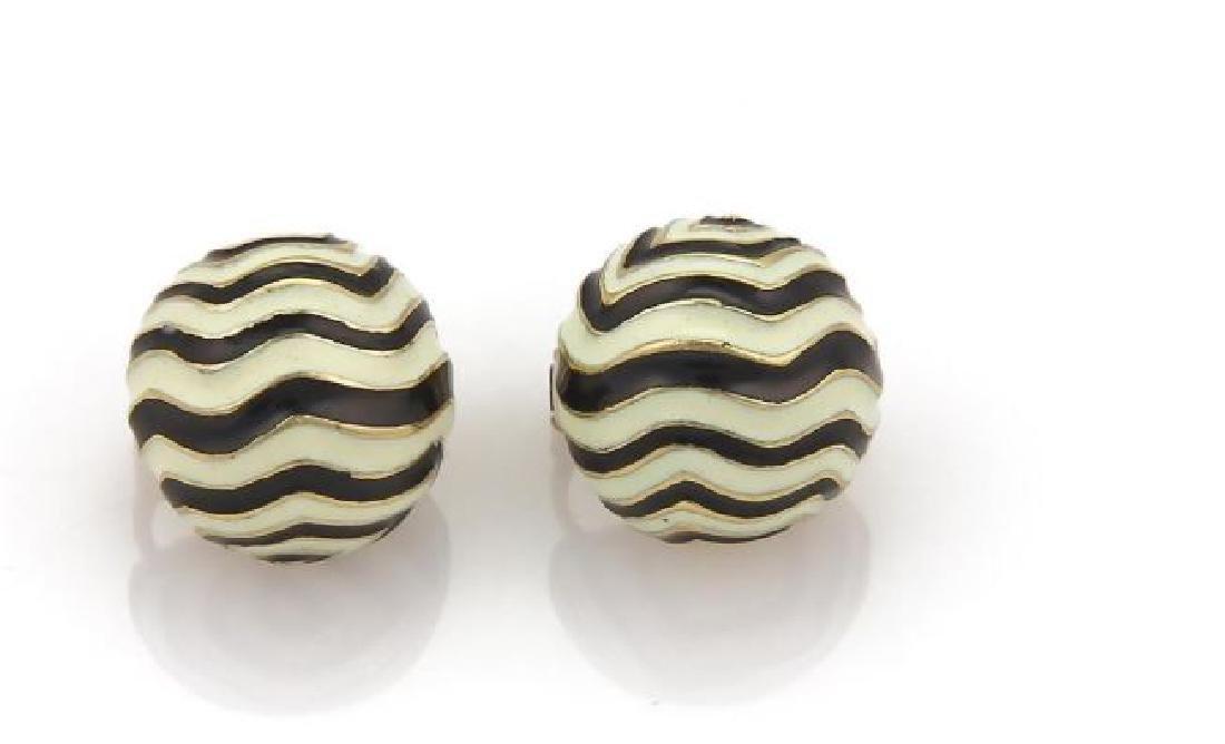 David Webb 18k Gold Wave Design Dome Earrings