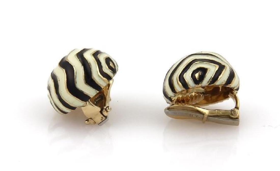 David Webb 18k Gold Wave Design Dome Earrings - 2