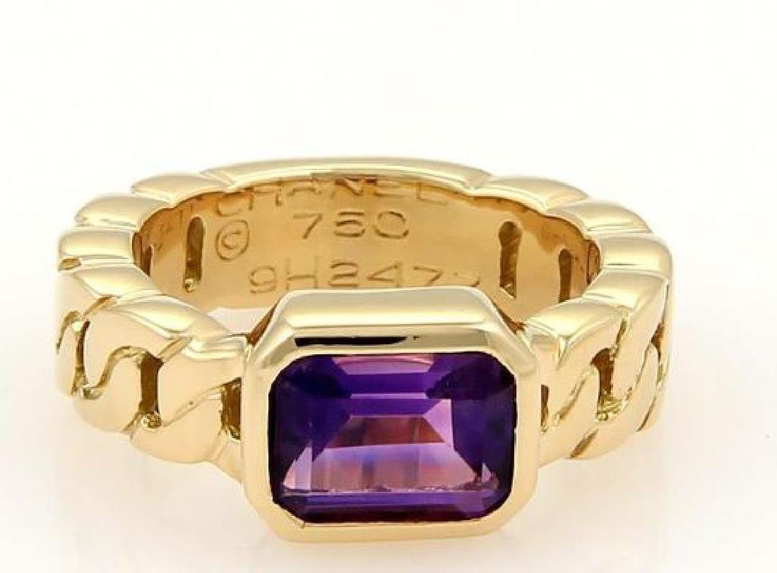Chanel Emerald Cut Amethyst 18k Gold Ring
