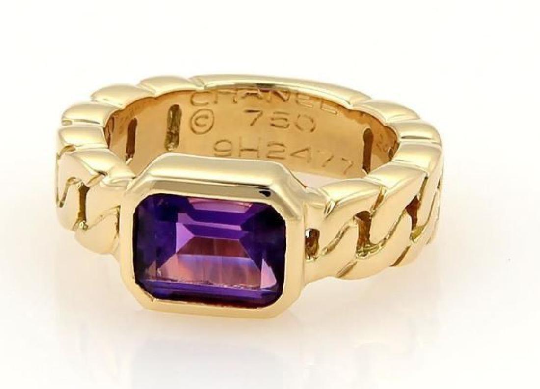 Chanel Emerald Cut Amethyst 18k Gold Ring - 2
