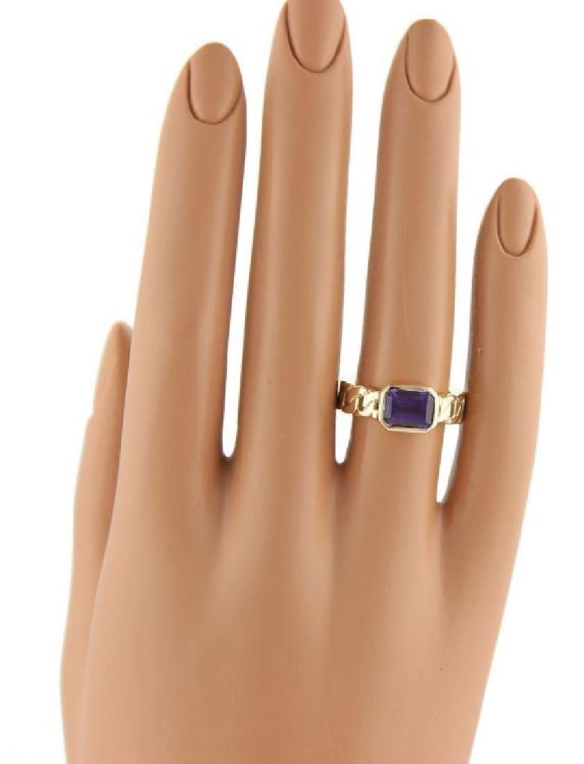 Chanel Emerald Cut Amethyst 18k Gold Ring - 5