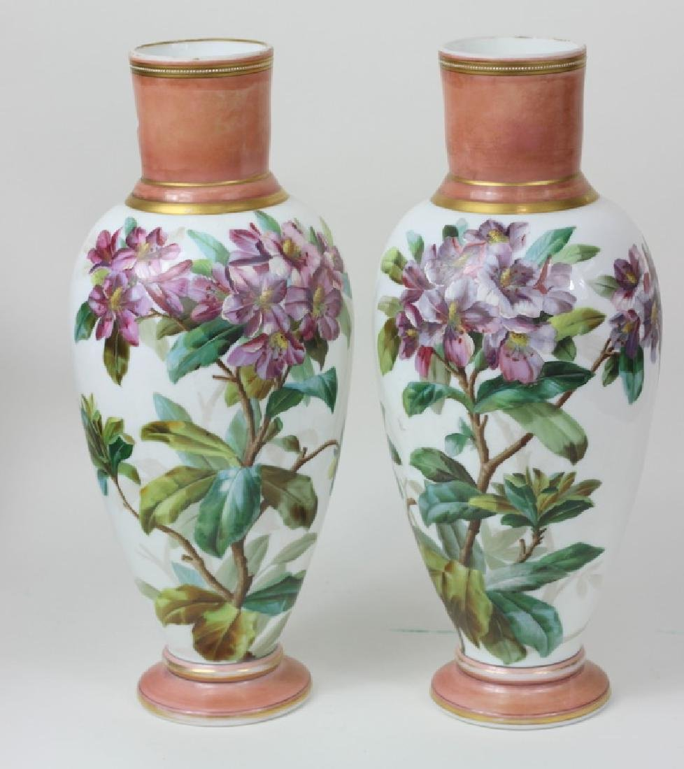 Large Pair of Hand Painted Porcelain Flower Vases