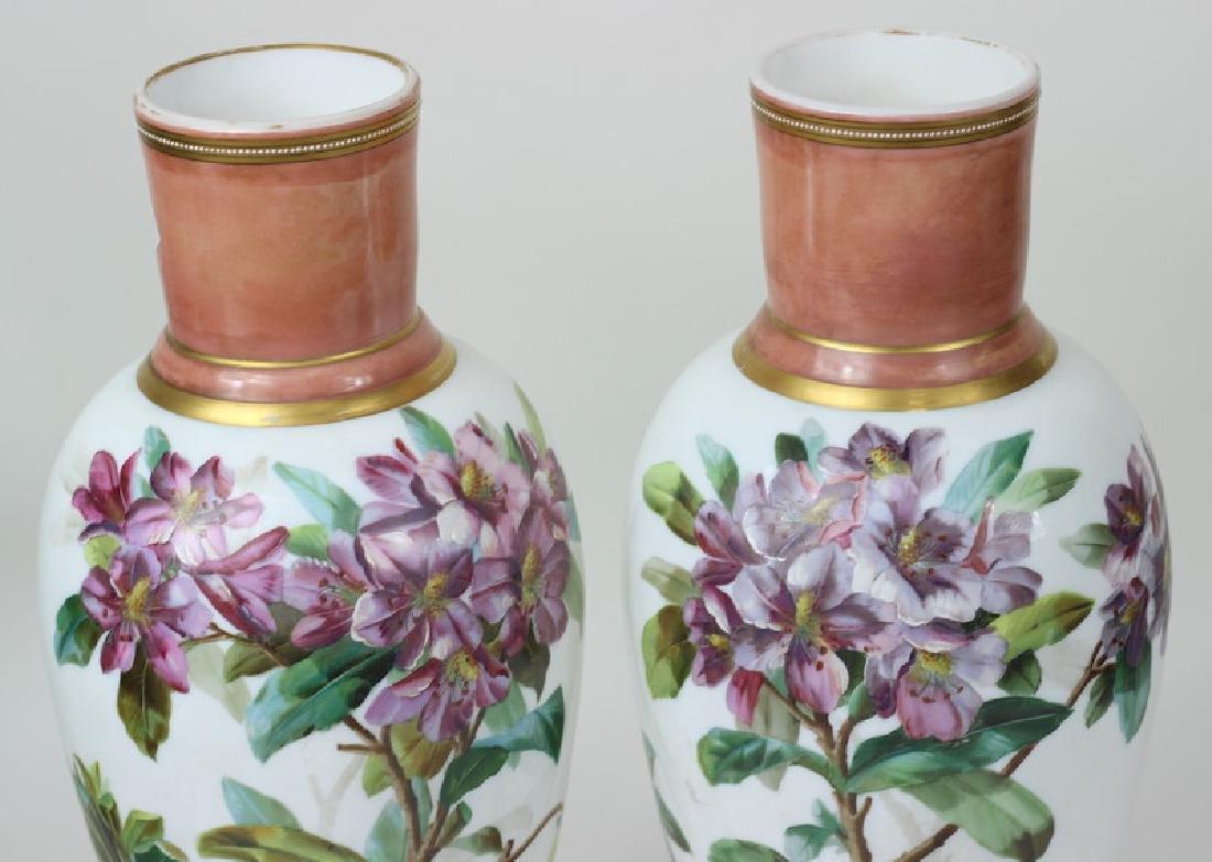Large Pair of Hand Painted Porcelain Flower Vases - 2