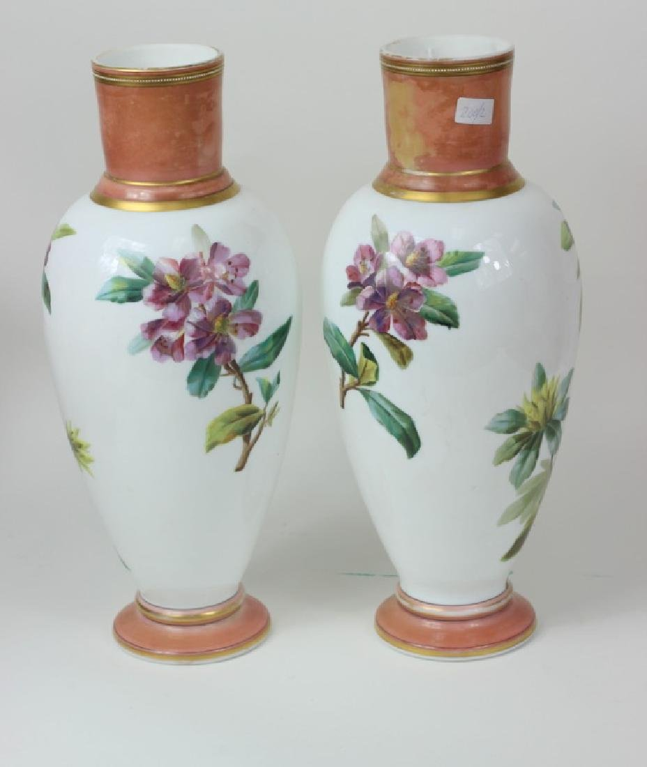 Large Pair of Hand Painted Porcelain Flower Vases - 4