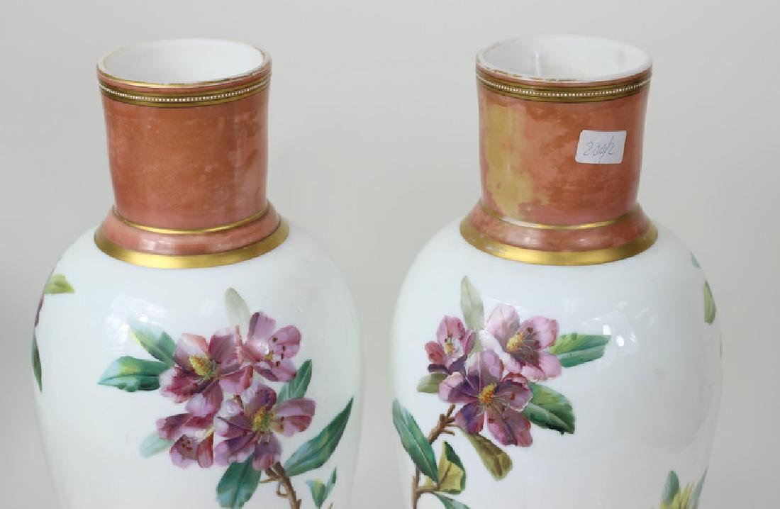 Large Pair of Hand Painted Porcelain Flower Vases - 5