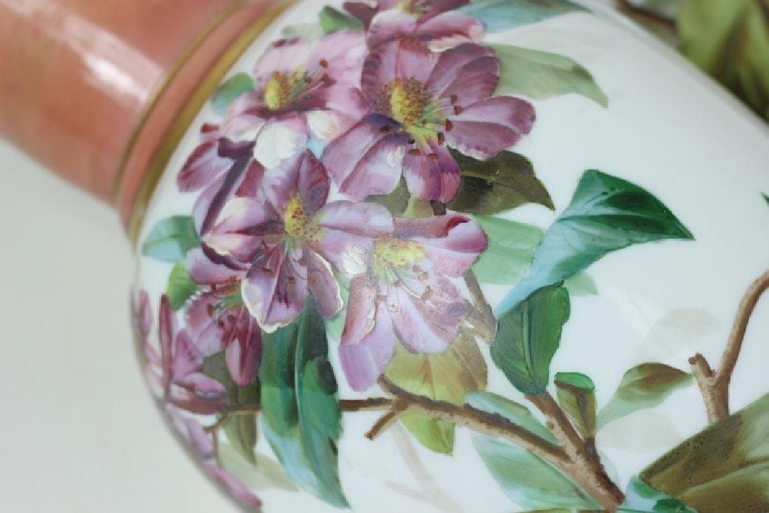 Large Pair of Hand Painted Porcelain Flower Vases - 7