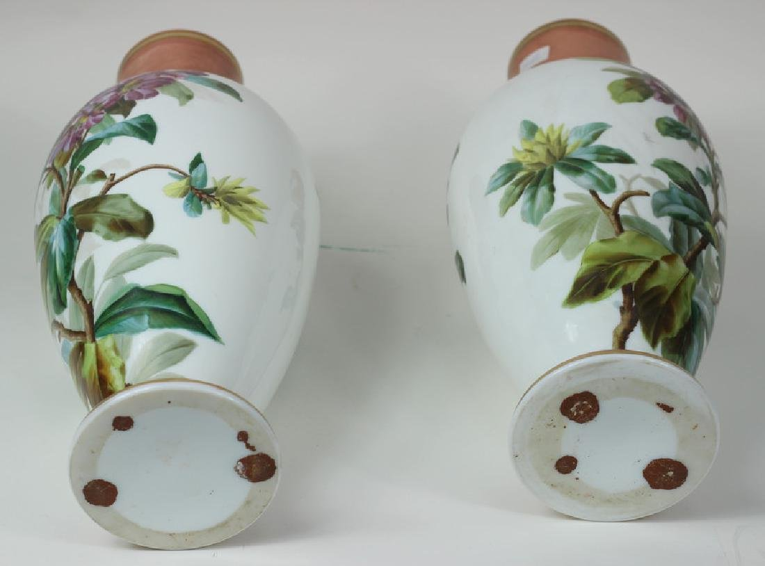Large Pair of Hand Painted Porcelain Flower Vases - 8