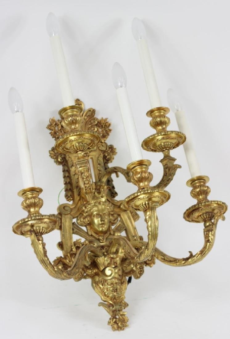 French Dore Bronze Rococo Sconce Light Fixture