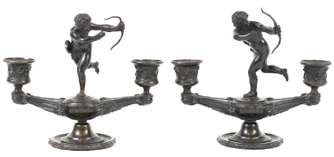 French Putti Figural Bronze Candlestick Holders