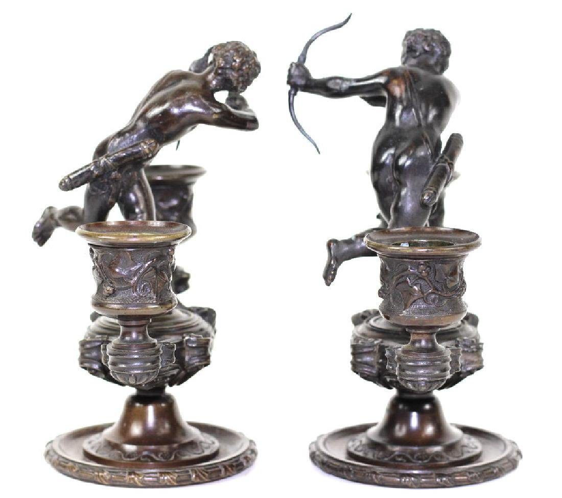 French Putti Figural Bronze Candlestick Holders - 4