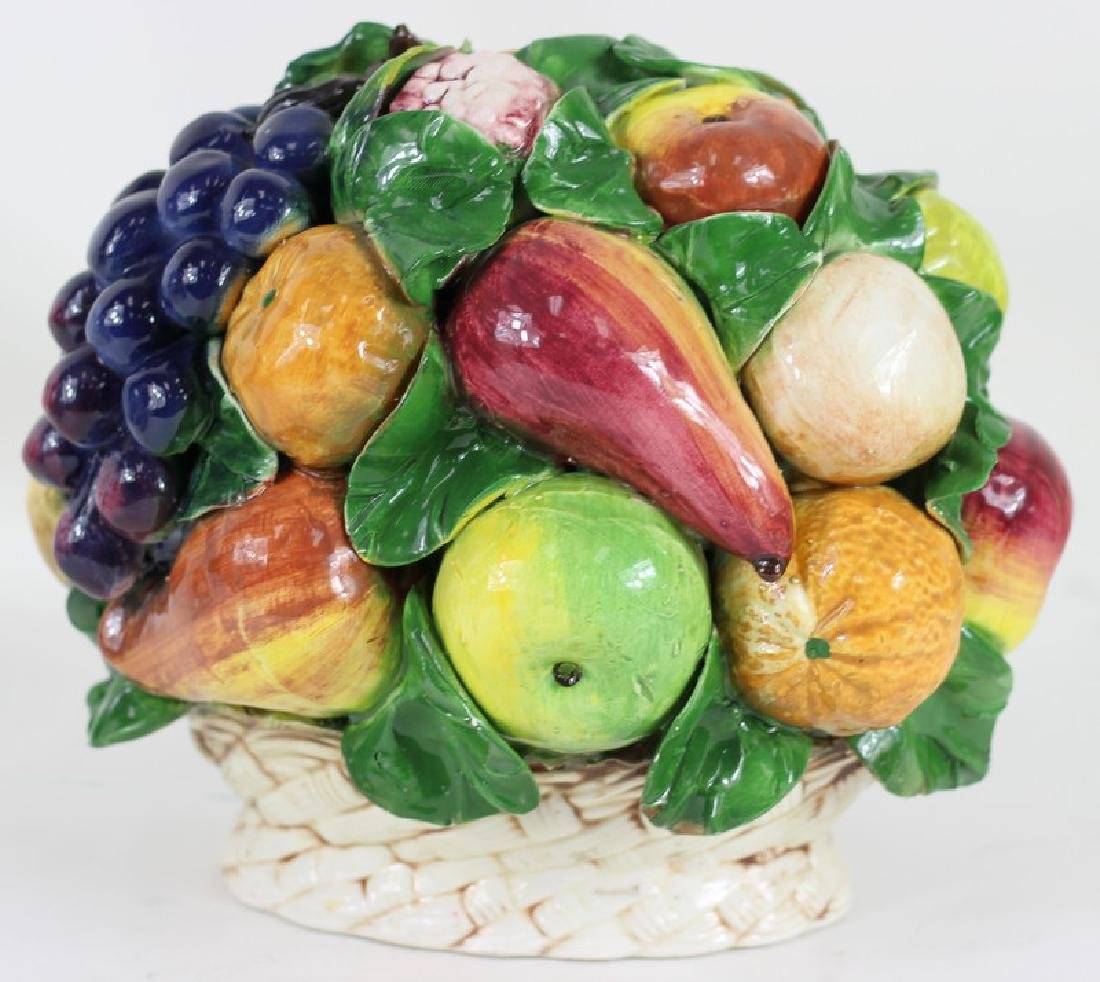 Late 20th C. Italian Majolica Fruit Basket