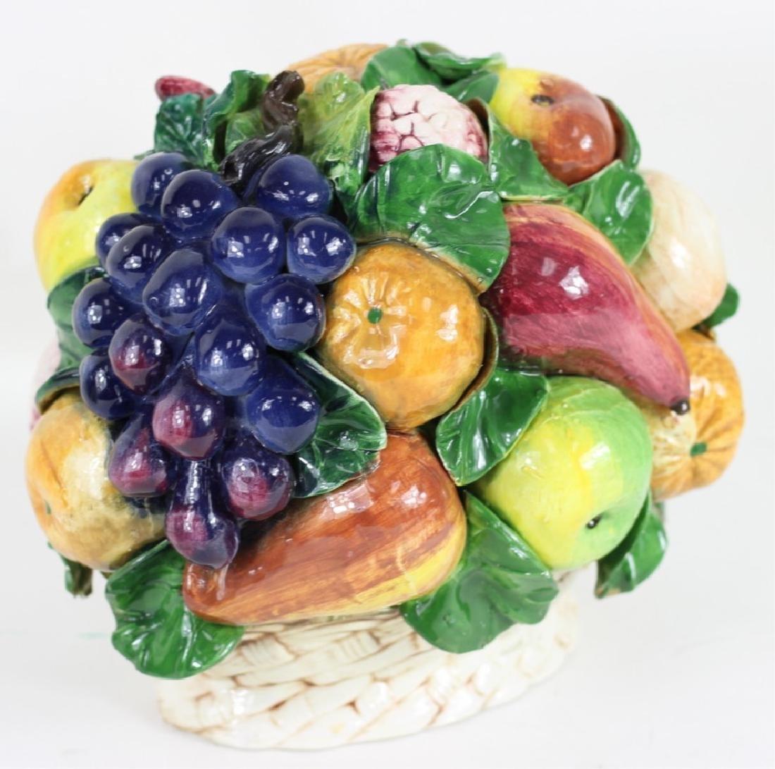 Late 20th C. Italian Majolica Fruit Basket - 3