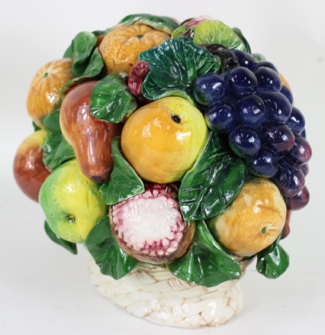 Late 20th C. Italian Majolica Fruit Basket - 4