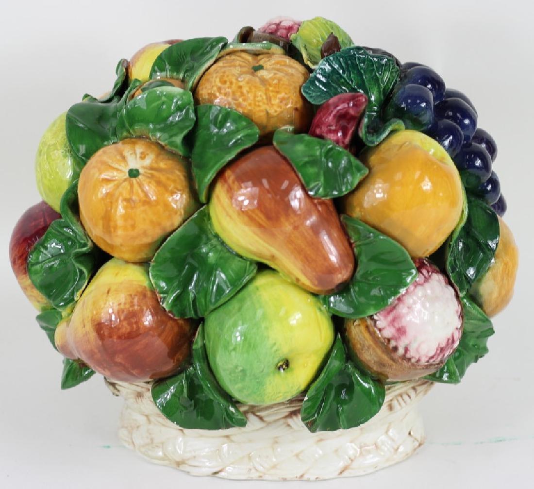 Late 20th C. Italian Majolica Fruit Basket - 5