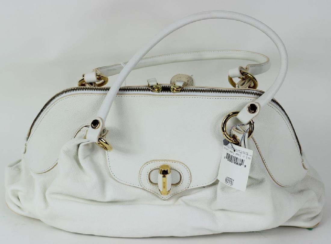 Moschino White & Gold Twist Lock Hand Bag Purse - 2
