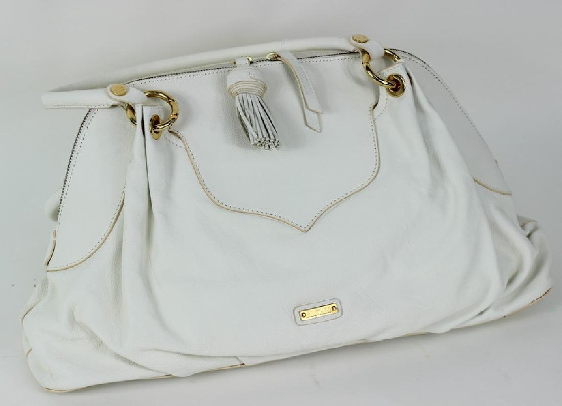 Moschino White & Gold Twist Lock Hand Bag Purse - 3