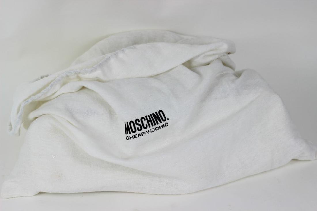 Moschino White & Gold Twist Lock Hand Bag Purse - 5