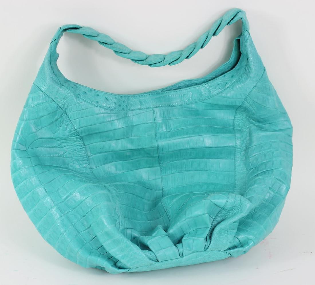 Nancy Gonzalez Turquoise Crocodile Hand Bag Purse