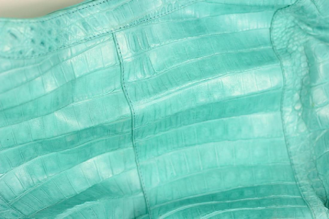Nancy Gonzalez Turquoise Crocodile Hand Bag Purse - 2